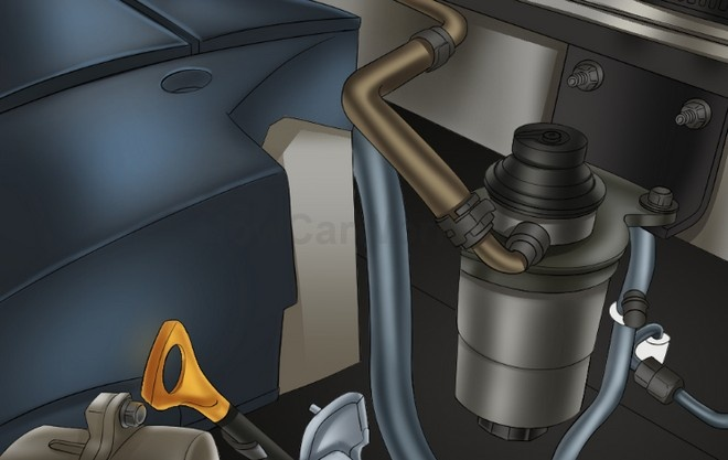 Пример расположения топливного фильтра в моторном отсеке автомобиля